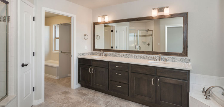 Bathroom Remodeling in Phoenix with Custom Cabinets and Double Sink