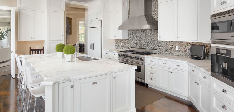 Kitchen Remodeling in Peoria, AZ with White Cabinets and Custom Cabinets